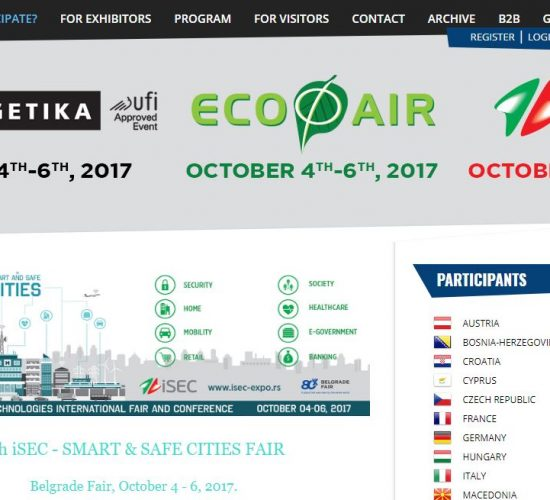 Smart Urban Technologies International Fair and Conference, 4-6th Oct. 2017, Belgrade, Serbia