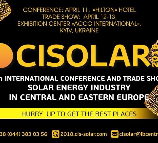 International Solar Energy Conference CISOLAR 2018, Kyiv, Ukraine